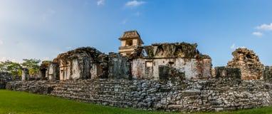 在帕伦克考古学站点,恰帕斯州,墨西哥的废墟 图库摄影