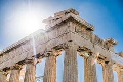 在帕台农神庙雅典卫城考古学地方的太阳 免版税库存照片