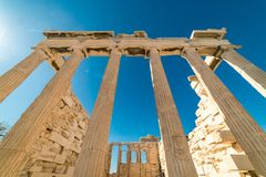 在帕台农神庙雅典卫城考古学Plac的Erechtheion 免版税库存图片