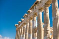 在帕台农神庙雅典卫城考古学Plac附近的细节 库存图片