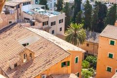 在帕尔马屋顶的看法从帕尔马,亦称La Seu圣玛丽亚大教堂的大阳台的  棕榈 图库摄影