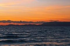 在帕尔马附近的阿雷纳尔海滩日落时间的 马略卡isl 库存图片