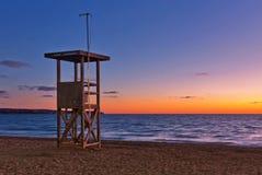 在帕尔马附近的阿雷纳尔海滩日落时间的 马略卡isl 免版税库存图片