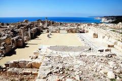 在帕福斯,塞浦路斯的罗马废墟 图库摄影