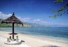 在帝力附近的Areia branca热带海滩视图在东帝汶 库存图片