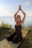 在席子的美好的少妇实践的瑜伽户外在草的河岸 库存照片