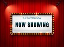 在帷幕的剧院标志有聚光灯的 免版税库存照片
