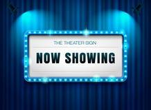 在帷幕的剧院标志有聚光灯的 免版税库存图片
