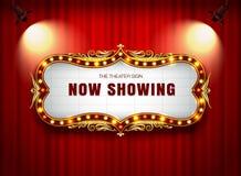 在帷幕的剧院标志 免版税库存照片