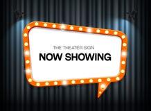 在帷幕背景的剧院标志与聚光灯 免版税库存图片