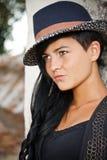 在帽子的时装模特儿 库存照片