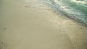 在干净的白色沙滩的海泡沫似的波浪辗压 股票视频
