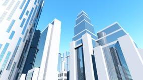 在干净的空白城市3D的概念 免版税库存图片