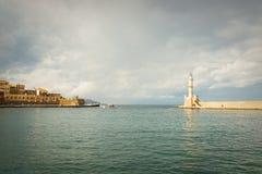 在干尼亚州的灯塔 免版税库存图片