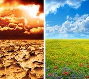在干旱的土地和豪华的绿色风景的旱田 免版税库存图片