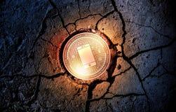在干燥地球点心背景采矿的发光的金黄探测器cryptocurrency硬币 图库摄影