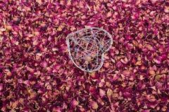在干燥玫瑰花瓣的心形的笼子 免版税库存图片