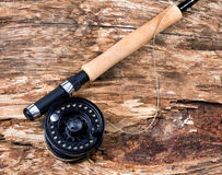 在干燥老被风化的树的用假蝇钓鱼卷轴 图库摄影