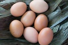 在干燥香蕉叶子的鸡蛋 库存照片