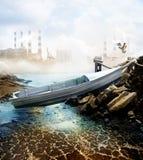 在干盐湖床上的小船 库存图片
