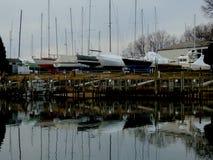 在干船坞的风船The Creek为冬天 图库摄影