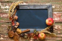 在干花和苹果框架的黑板  免版税库存图片