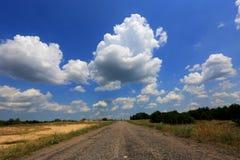 在干草原的柏油路 免版税库存图片
