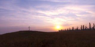 在干草原的黎明 免版税库存照片