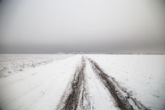 在干草原风景的冬天路 免版税图库摄影