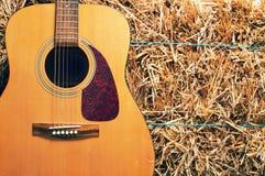 在干草堆的吉他 库存图片