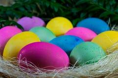 在干草的五颜六色的复活节彩蛋在柳条筐 免版税库存照片
