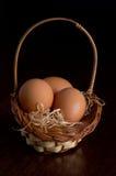 在干草篮子的复活节彩蛋  库存图片