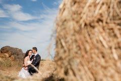 在干草附近的夫妇 库存照片