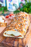 在干酪上添面包 库存图片