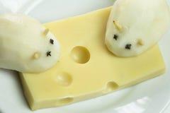 在干酪的鼠标 免版税图库摄影