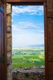 在平原沿爱琴海, Selcuk,土耳其的农田 免版税库存照片