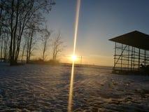 在平原的日落 免版税图库摄影