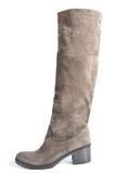在平均脚跟灰棕色(棕色)颜色的高绒面革起动 免版税库存图片