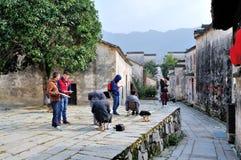 在平山村庄剪影 免版税库存图片