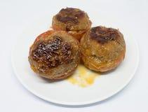 在平底深锅-越南食物的油煎的蕃茄肉 免版税库存照片
