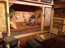 在平底船的住宅在平底船遭遇主题乐园 库存照片