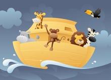 在平底船的动物 库存图片