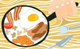 在平底锅的传统英式早餐 皇族释放例证
