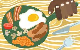 在平底锅的传统英式早餐 库存例证