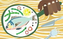 在平底锅的新近地煮熟的鱼 皇族释放例证
