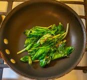 在平底锅的枯萎的菠菜 免版税库存图片