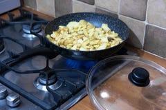 在平底锅的油煎的土豆 库存照片