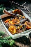 在平底锅的烤鹿肉腰臀部分有柑橘切片的 免版税库存照片