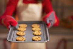 在平底锅的特写镜头用圣诞节曲奇饼在手中主妇 图库摄影