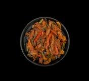 在平底锅的肉和蔬菜 库存图片